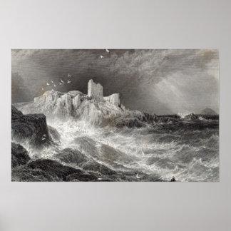Castelo de Turnbury, gravado por S. Bradshaw Impressão
