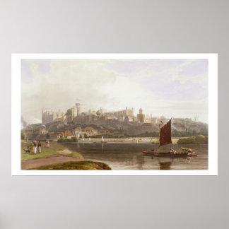 Castelo de Windsor do prado do rio na Tamisa Poster