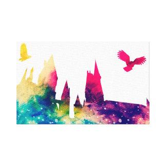Castelo do Watercolour & canvas da coruja