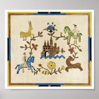 Castelo e animais do art deco posteres