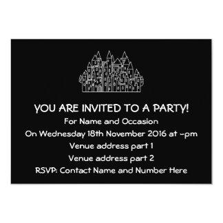Castelo em preto e branco. convite 11.30 x 15.87cm