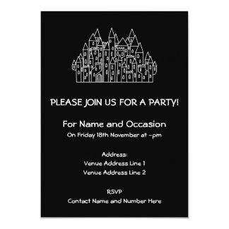 Castelo em preto e branco. convite 12.7 x 17.78cm