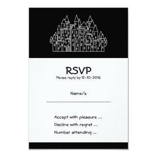 Castelo em preto e branco. convite 8.89 x 12.7cm