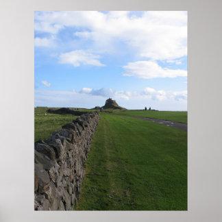 Castelo Lindisfarne na ilha santamente Poster