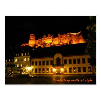 Castelo romântico de Heidelberg na noite Cartão Postal