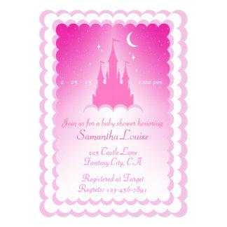 Castelo sonhador cor-de-rosa no chá de fraldas das convite 12.7 x 17.78cm
