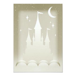 Castelo sonhador de prata no céu estrelado da lua convite 12.7 x 17.78cm