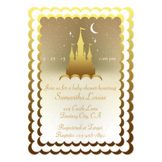 Castelo sonhador de prata no chá de fraldas das convite 12.7 x 17.78cm