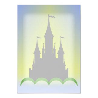 Castelo sonhador do dia no céu ensolarado das convites personalizados