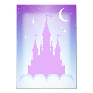 Castelo sonhador do Nighttime no céu estrelado das Convite 12.7 X 17.78cm