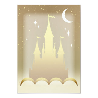 Castelo sonhador dourado no céu estrelado da lua convite 12.7 x 17.78cm