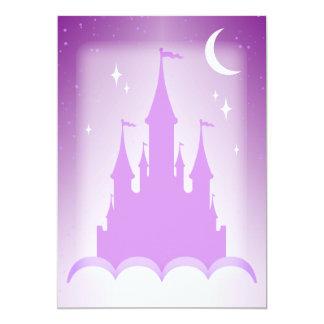 Castelo sonhador roxo no céu estrelado da lua das convite 12.7 x 17.78cm