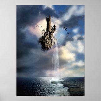 Castelo surreal no poster do ar