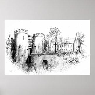 Castelo um Liège 1847 Pôsteres