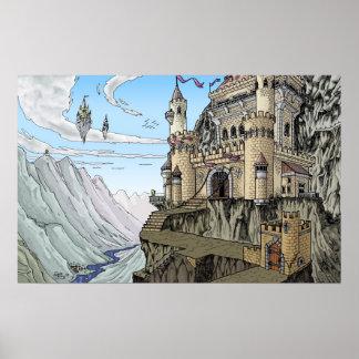 Castelos no poster da fantasia das nuvens