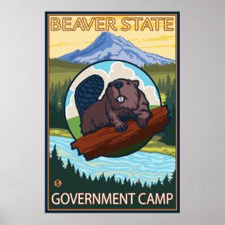 Castor & capa do Mt. - acampamento do governo, Ore Pôster