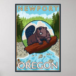 Castor & rio - Newport, Oregon Pôster