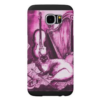 CAT MUSICAL, violeta e branco cor-de-rosa Capa Para Samsung Galaxy S6