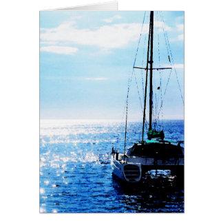 Catamarã em águas bonitas de Dominica Cartão