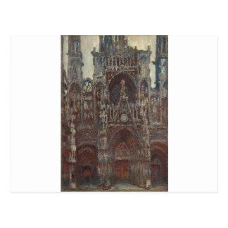 Catedral de Rouen, noite, harmonia no marrom Cartão Postal