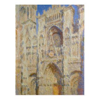 Catedral de Rouen, portal no Sun por Claude Monet Cartão Postal