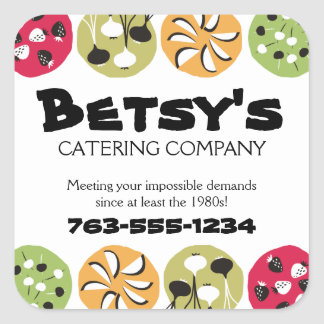 Catering dishes appetizers chef food label square stickers