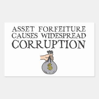 Causa Corrpution difundido das leis da confisco do Adesivo Retangular