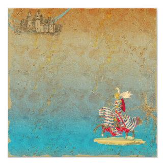 Cavaleiro do conto de fadas & cartão do convite do convite quadrado 13.35 x 13.35cm