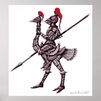 Cavaleiro legal no poster da arte gráfica do abstr
