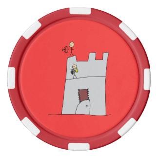 Cavaleiros bonitos com arco & seta & espada no fichas de poquer