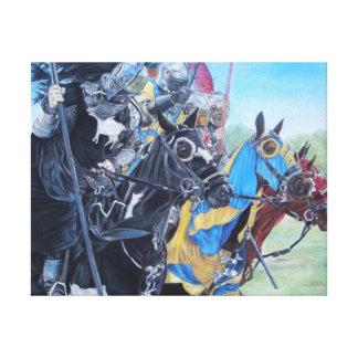 cavaleiros medievais que jousting na arte impressão em canvas