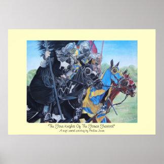 Cavaleiros na arte histórica do realista dos caval poster