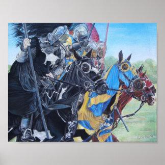 Cavaleiros na arte histórica do realista dos poster