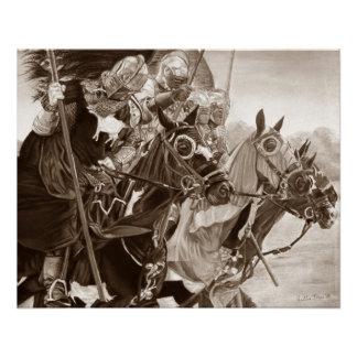 Cavaleiros na arte histórica do realista dos poster perfeito