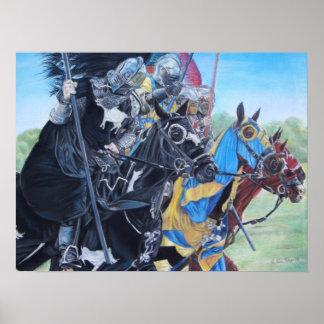 Cavaleiros no poster histórico da arte do realista