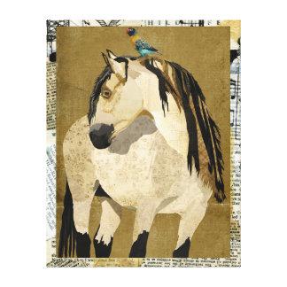 Cavalo branco & canvas pequenas do pássaro impressão em tela