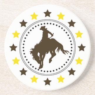 Cavalo Bucking do ouro de Brown Porta Copos De Arenito