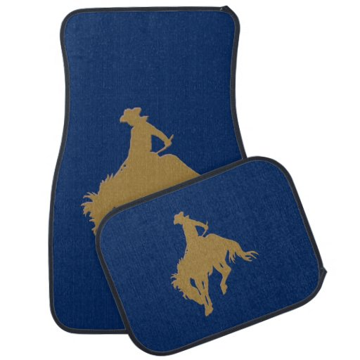 Cavalo Bucking do vaqueiro azul do ouro Tapete Automotivo