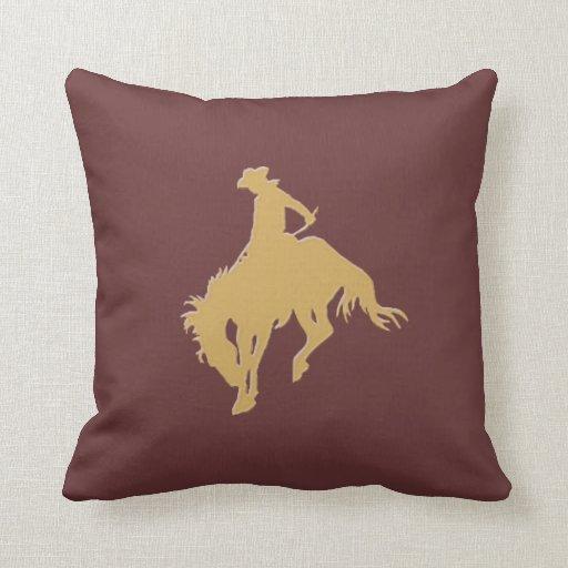 Cavalo Bucking do vaqueiro do ouro Travesseiro