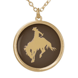 Cavalo Bucking do vaqueiro do ouro Colar Com Pendente Redondo