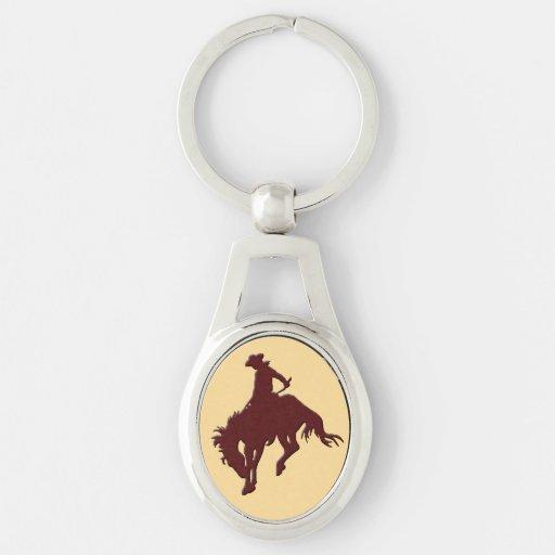 Cavalo Bucking do vaqueiro do ouro de Brown Chaveiro