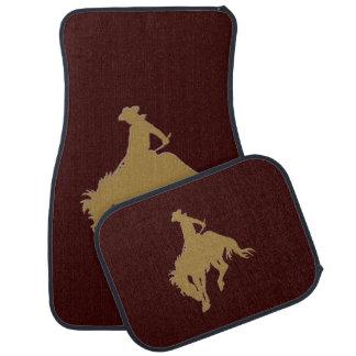 Cavalo Bucking do vaqueiro do ouro de Brown Tapete Automotivo