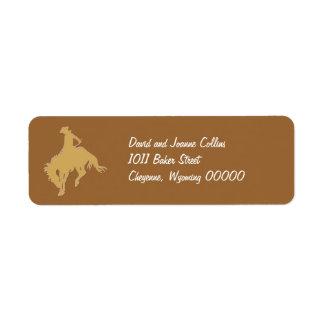 Cavalo Bucking do vaqueiro do ouro Etiqueta Endereço De Retorno