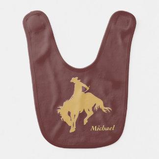 Cavalo Bucking do vaqueiro do ouro personalizado Babador Infantil