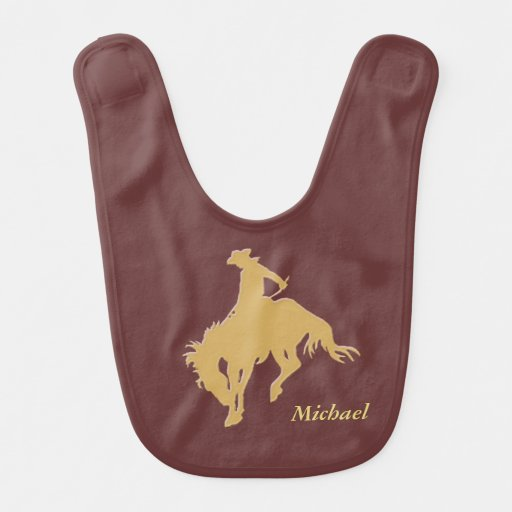 Cavalo Bucking do vaqueiro do ouro personalizado Babador De Bebe
