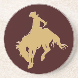 Cavalo Bucking do vaqueiro do ouro Porta Copos De Arenito