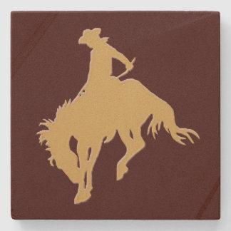 Cavalo Bucking do vaqueiro do ouro Porta Copos De Pedras