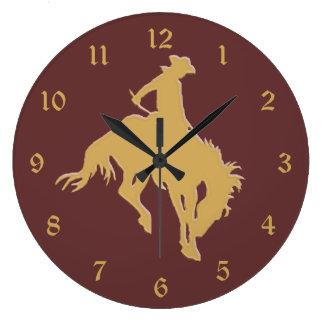 Cavalo Bucking do vaqueiro do ouro Relógio De Parede
