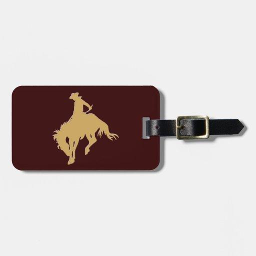 Cavalo Bucking do vaqueiro do ouro Etiquetas Para Malas