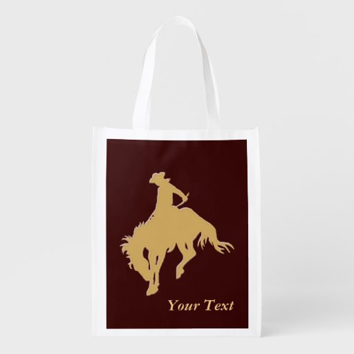 Cavalo Bucking do vaqueiro do ouro Sacola Ecológica Para Supermercado